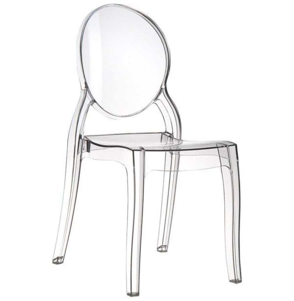 Chaise médaillon ´ELIZA´ transparente en matière plastique