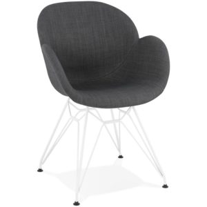 Chaise moderne ´ATOL´ en tissu gris foncé avec pieds en métal blanc 300x300 - Décoration pas chère et moderne