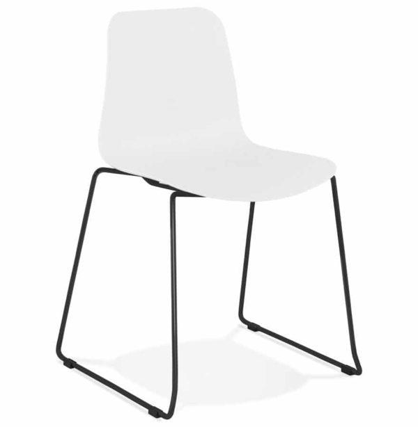 Chaise moderne ´EXPO´ blanche avec pieds en métal noir