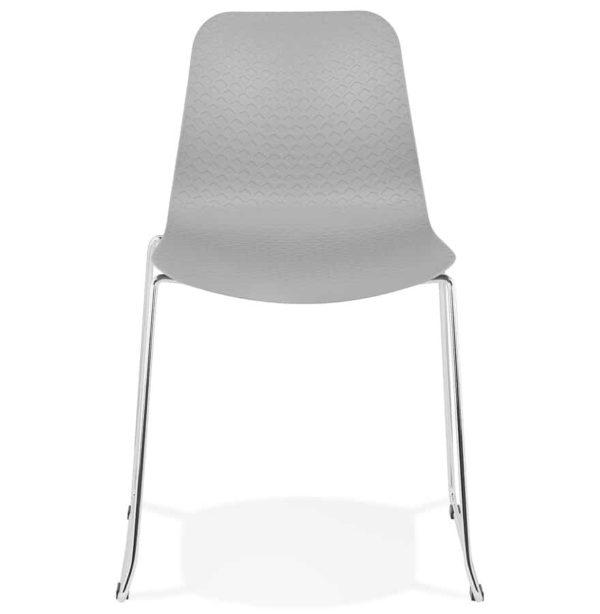 Chaise-moderne-´EXPO´-grise-avec-pieds-en-métal-chromé-1