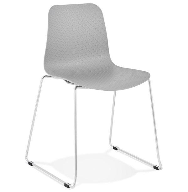 Chaise moderne ´EXPO´ grise avec pieds en métal chromé