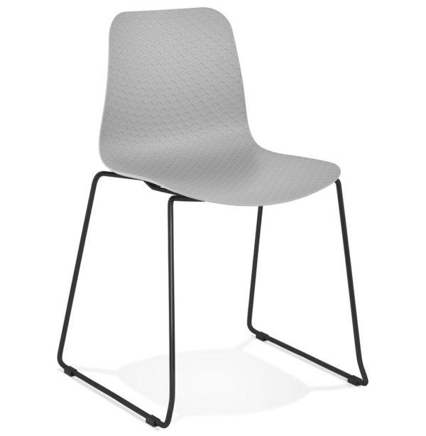 Chaise Moderne EXPO Grise Avec Pieds En Mtal Noir