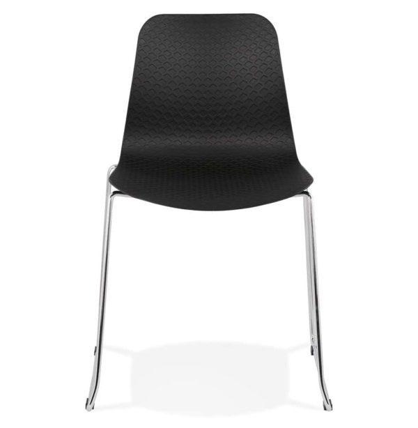Chaise-moderne-´EXPO´-noire-avec-pieds-en-métal-chromé-1