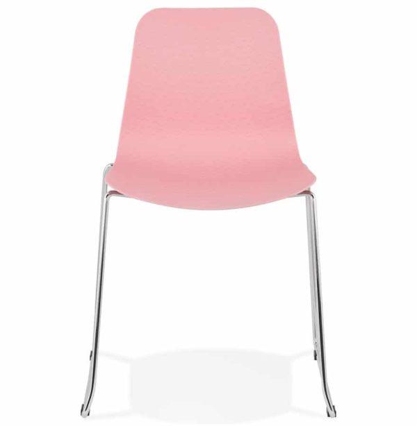 Chaise-moderne-´EXPO´-rose-avec-pieds-en-métal-chromé-1