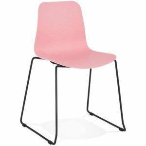 Chaise moderne ´EXPO´ rose avec pieds en métal noir