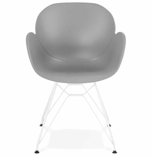 Chaise-moderne-´FIDJI´-grise-avec-pieds-en-métal-blanc-1
