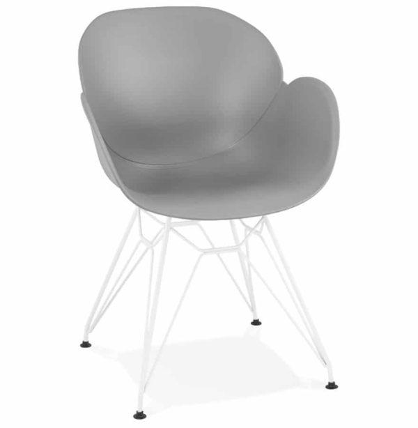 Chaise Moderne FIDJI Grise Avec Pieds En Mtal Blanc