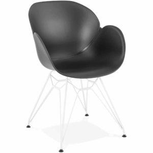 Chaise moderne ´FIDJI´ noire avec pieds en métal blanc 300x300 - Décoration pas chère et moderne