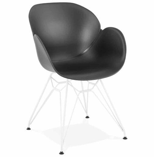 Chaise moderne ´FIDJI´ noire avec pieds en métal blanc