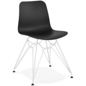 Chaise moderne ´GAUDY´ noire avec pied en métal blanc 300x300 - Décoration pas chère et moderne