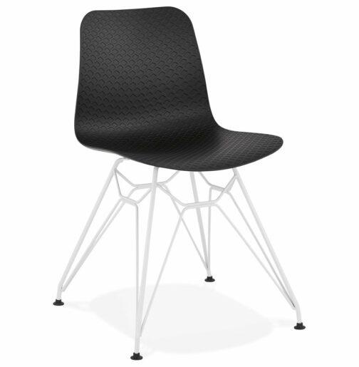 Chaise moderne ´GAUDY´ noire avec pied en métal blanc