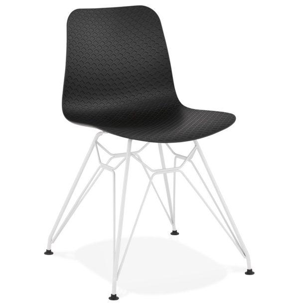 Chaise moderne ´GAUDY´ noire avec pied en métal blanc 600x614 - Découvrez 10 chaises design, modernes et pas chères
