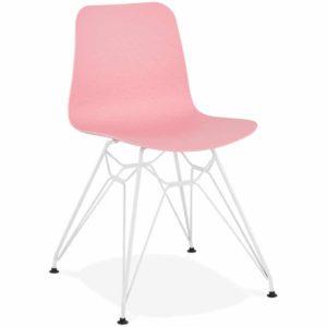 Chaise moderne ´GAUDY´ rose avec pied en métal blanc 300x300 - Chaise moderne ´GAUDY´ rose avec pied en métal blanc