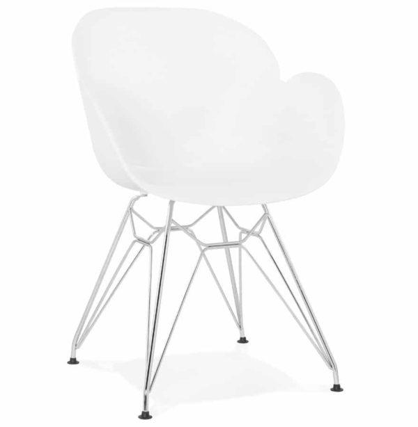 Chaise moderne ´UNAMI´ blanche en matière plastique avec pieds en métal chromé