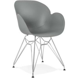 Chaise moderne ´UNAMI´ grise en matière plastique avec pieds en métal chromé
