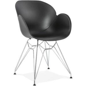 Chaise moderne ´UNAMI´ noire en matière plastique avec pieds en métal chromé