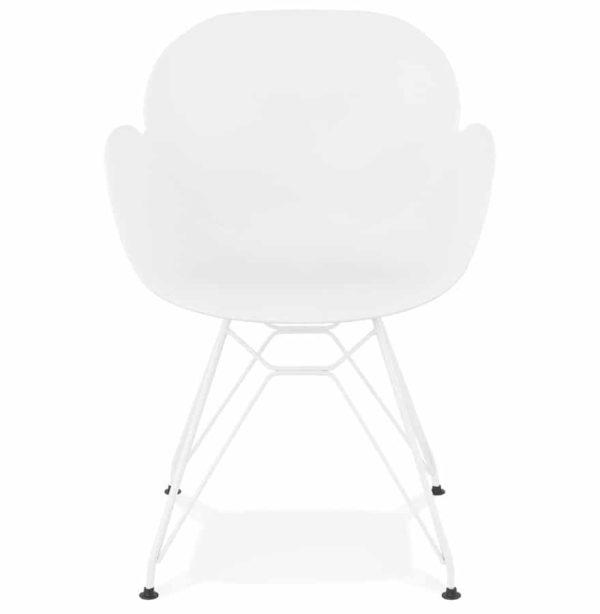 chaise moderne fidji blanche avec pieds en m tal blanc. Black Bedroom Furniture Sets. Home Design Ideas