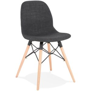 Chaise scandinave ´BIZON´ en tissu gris foncé