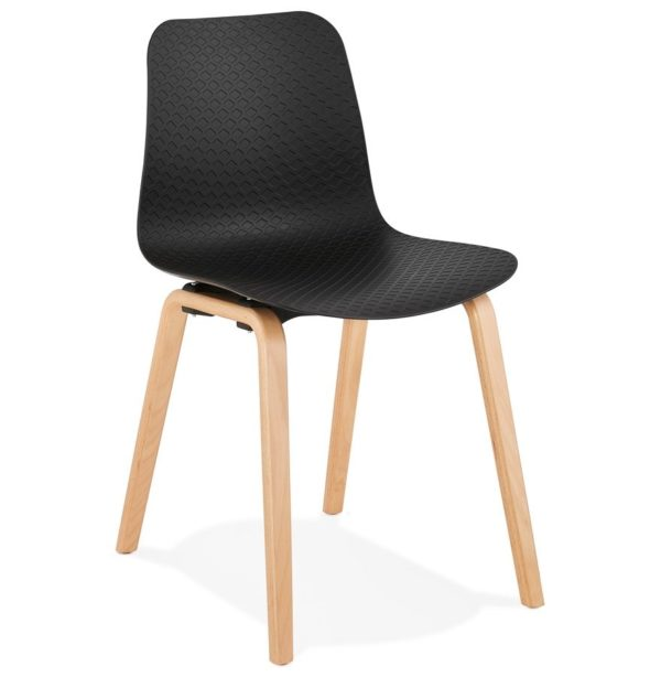 Chaise scandinave ´PACIFIK´ noire avec pieds en bois finition naturelle