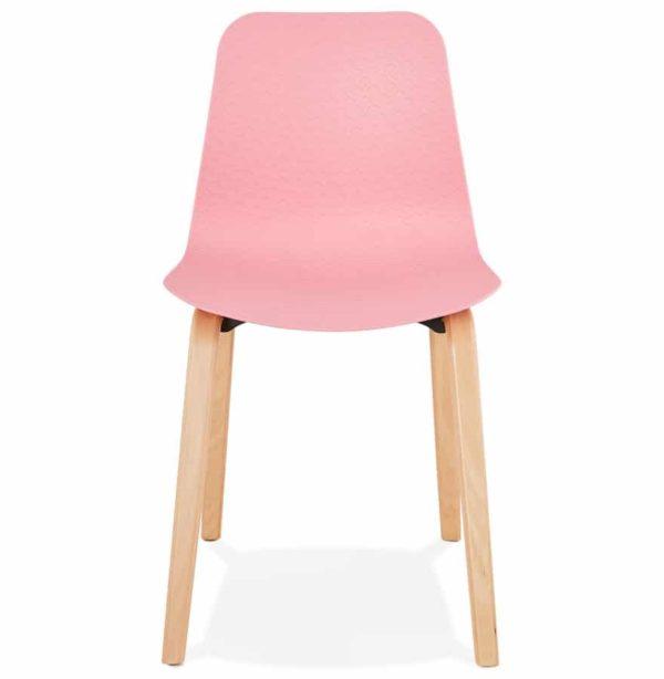Chaise-scandinave-´PACIFIK´-rose-avec-pieds-en-bois-finition-naturelle-1