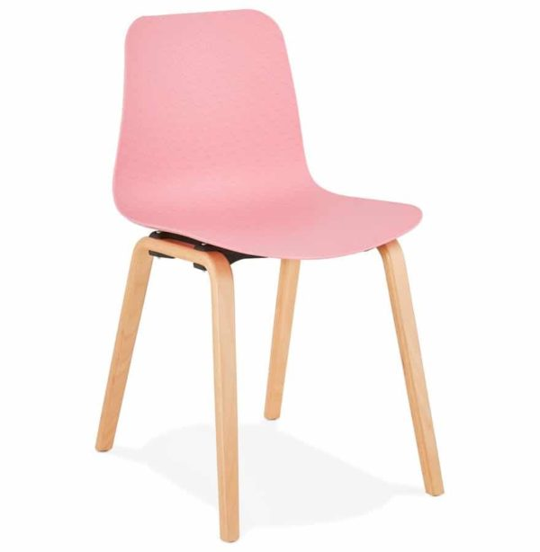 Chaise scandinave ´PACIFIK´ rose avec pieds en bois finition naturelle