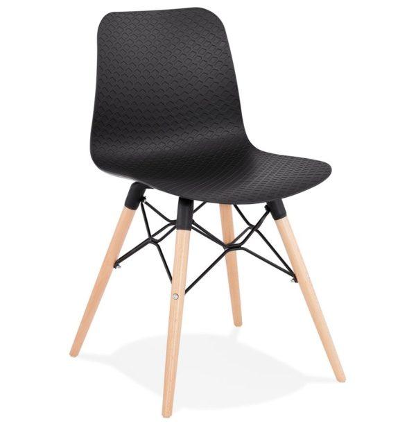 chaise scandinave tonic noire design - Chaise Scandinave Design