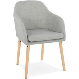 Chaise scandinave avec accoudoirs ´FLORIDA´ en tissu gris