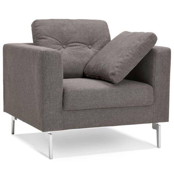 Fauteuil de salon 1 place ´SIXTY MINI´ en tissu gris très moderne
