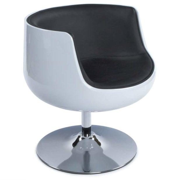 Fauteuil-design-´DEKO´-boule-rotatif-blanc-et-noir-1