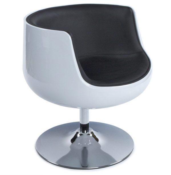 Fauteuil design ´DEKO´ boule rotatif blanc et noir
