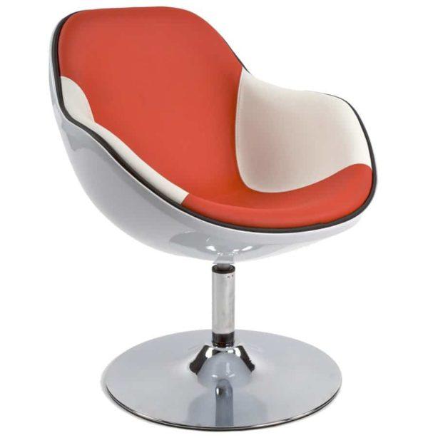 Fauteuil design ´KOK´ pivotant blanc et rouge style retro