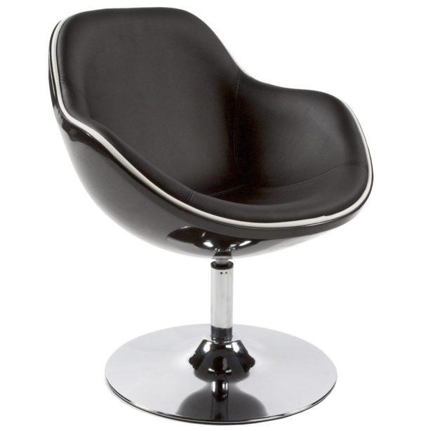 Fauteuil design ´KOK´ pivotant noir style retro