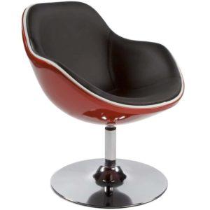 Fauteuil design ´KOK´ pivotant rouge et noir style retro