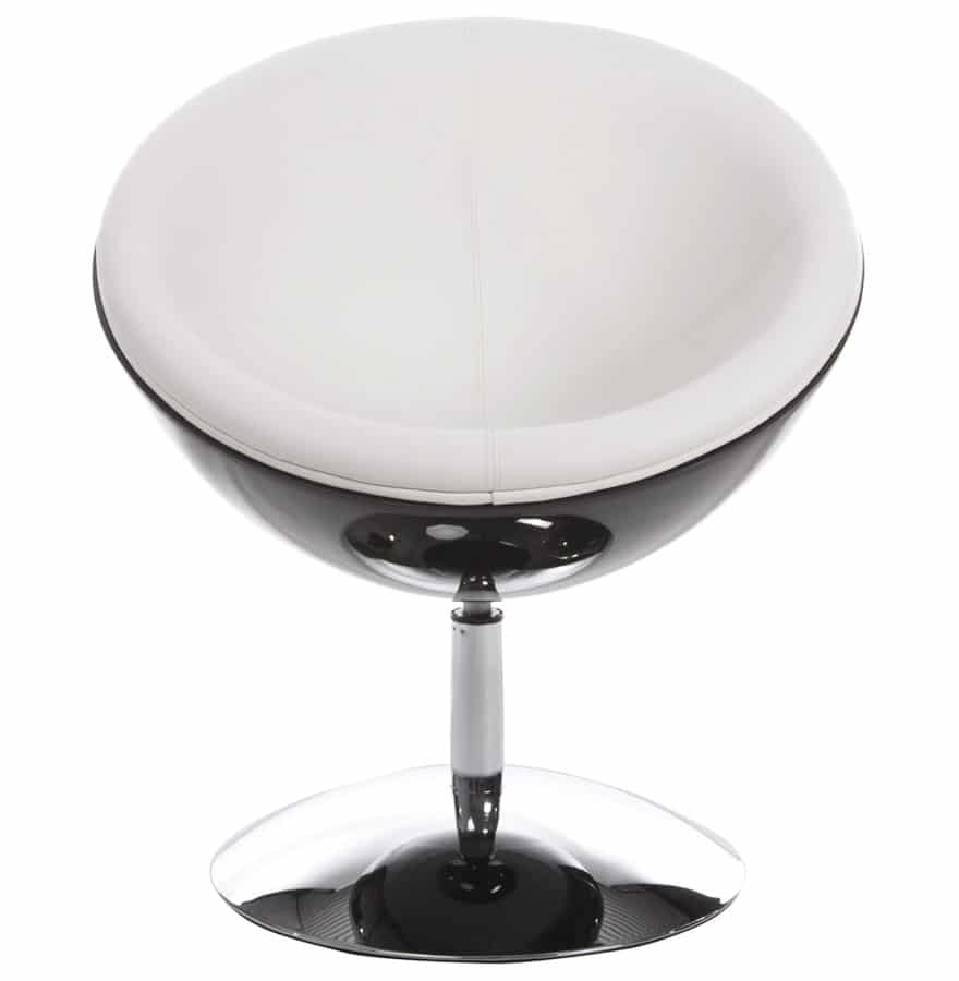 Fauteuil-design-boule-´SPHERA´-pivotant-360°-noir-et-blanc-1
