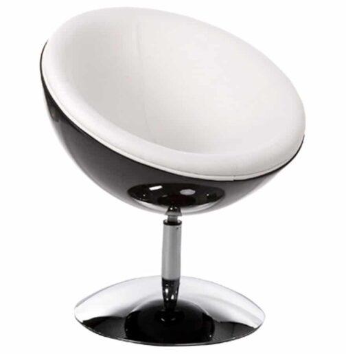 Fauteuil design boule ´SPHERA´ pivotant 360° noir et blanc
