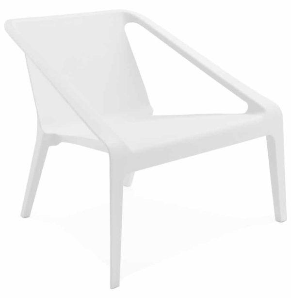 Fauteuil lounge de jardin ´SUNNY´ blanc en matière plastique