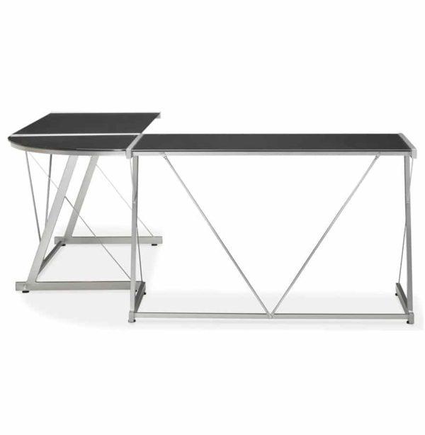 Grand-bureau-d´angle-´GEEK´-design-en-verre-noir-1