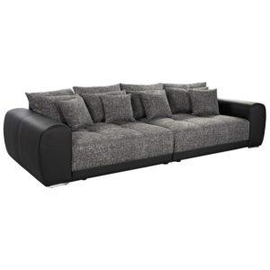 Grand canapé droit ´BYOUTY´ noir 4 places en matière synthétique et tissu chenille 300x300 - Grand canapé droit ´BYOUTY´ noir 4 places en matière synthétique et tissu chenille