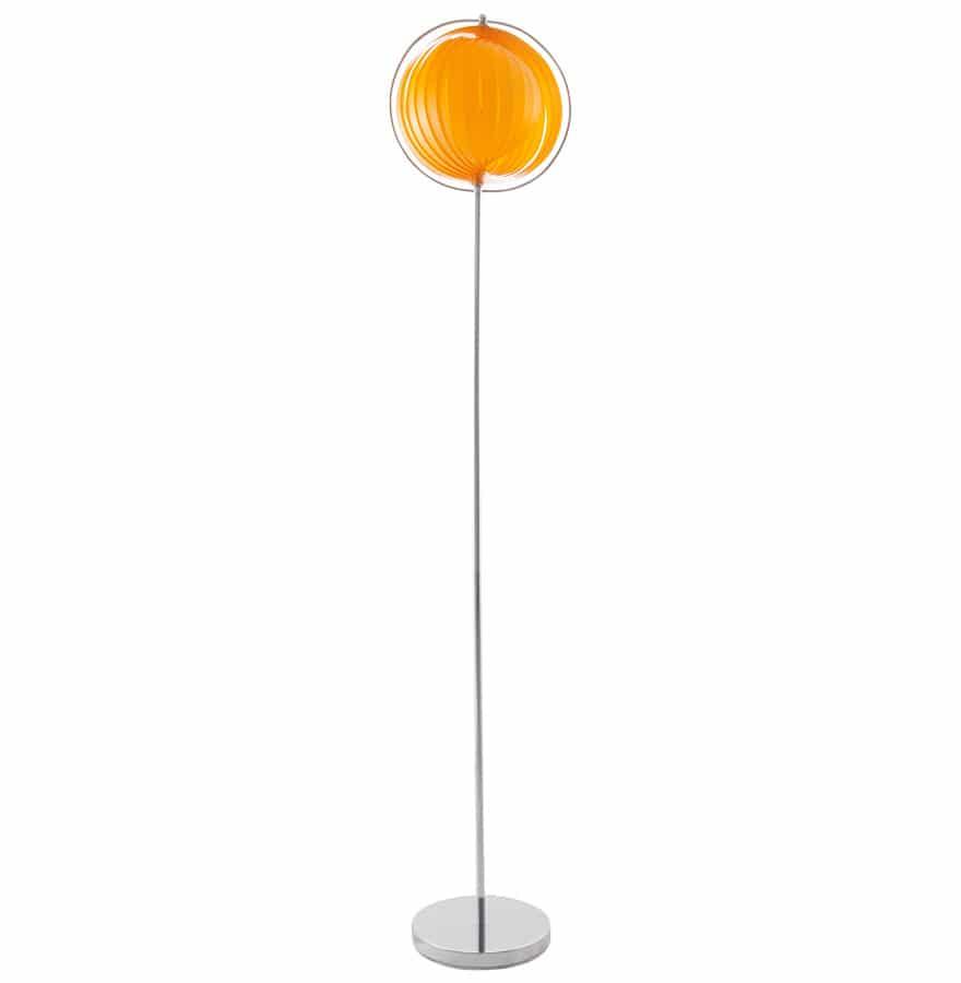 Lampadaire-design-´LUNA´-orange-avec-lamelles-en-plastique-flexibles-1