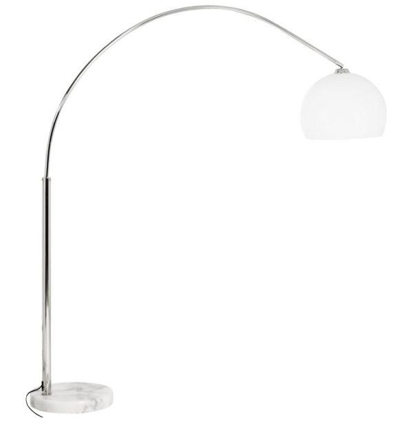 Lampadaire design en arc ´BIG BOW SMALL´ abat-jour blanc