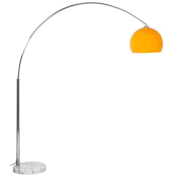 Lampadaire design en arc ´BIG BOW XL´ abat-jour orange