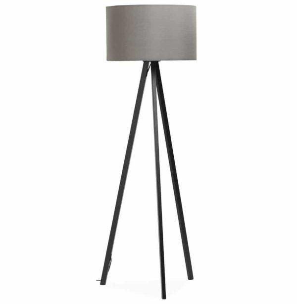 Lampadaire trépied ´SPRING´ avec abat-jour gris et 3 pieds noirs