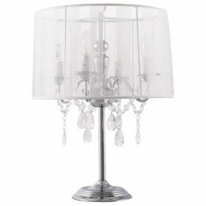 Lampe de chevet ´KLASSIK´ blanche chandelier baroque à pampilles