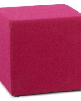 Petit pouf ´CAYOU´ en forme de cube en tissu rose