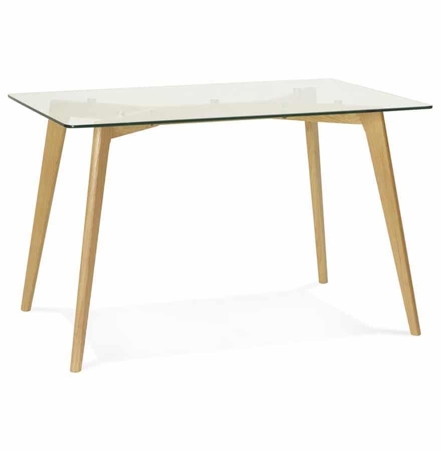 Petite table / bureau droit ´BUGY´ en verre - 120x80 cm