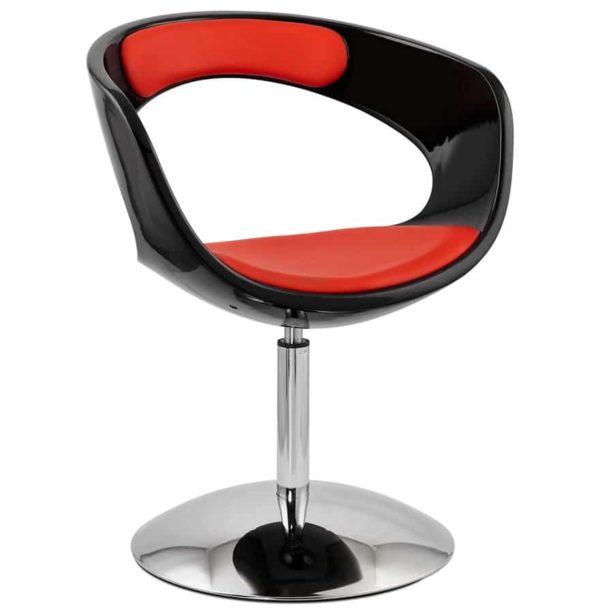 Siège design rotatif ´SPACE´ rouge et noir