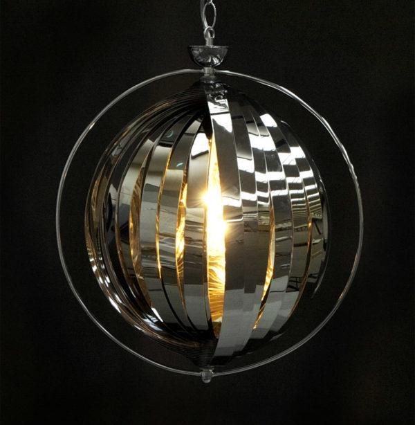 Suspension-boule-design-´LISA´-en-lamelles-flexibles-chromées-1