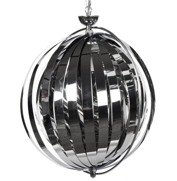 Suspension boule design ´LISA´ en lamelles flexibles chromées