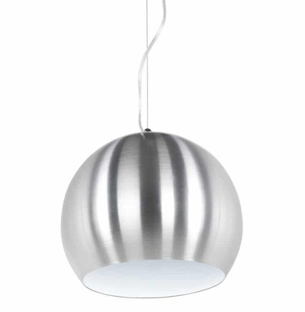 Suspension boule design ´POGO´ en aluminium brossé et intérieur blanc