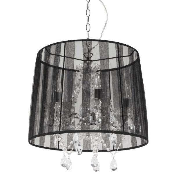 Suspension chandelier baroque ´KOSY´ noire à pampilles